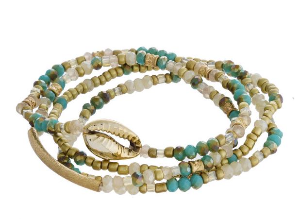 Cowrie Shell Beaded Bracelet Set