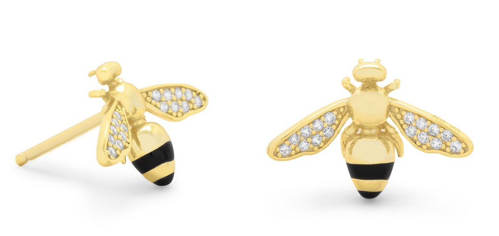 Gold Signity CZ Bee Earrings
