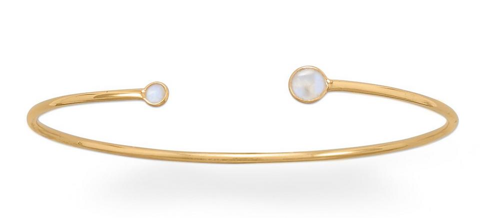 Gold Rainbow Moonstone Open Cuff Bracelet