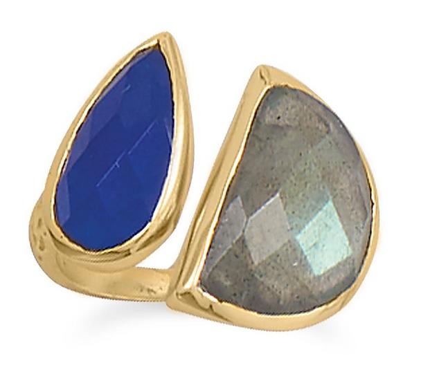 Gold Labradorite and Blue Jade Ring