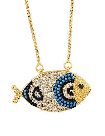 Go Fish Blue Pendant Necklace