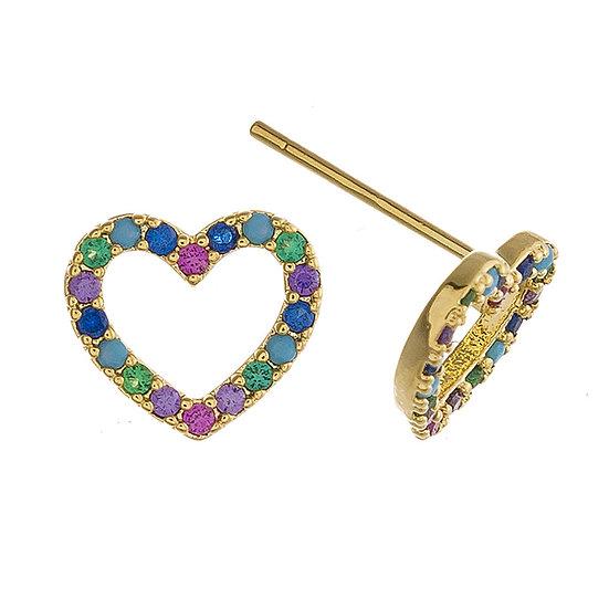 Multicolor CZ Heart Earrings