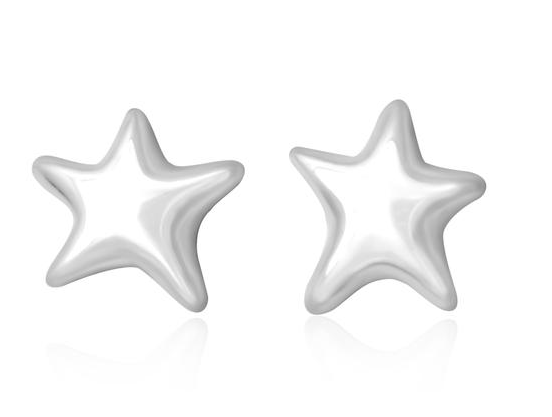 Silver Puffy Star Earrings