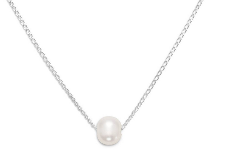 Floating Cultured Freshwater Pearl Silver Necklace