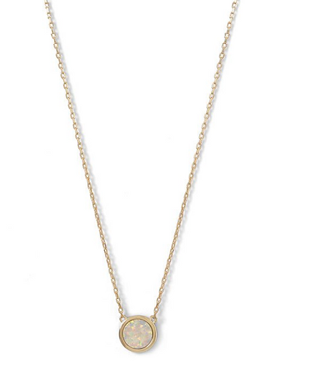 Gold Mini Synthetic White Opal Necklace