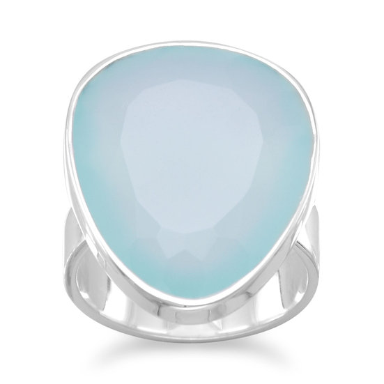 Sea Green Chalcedony Silver Ring