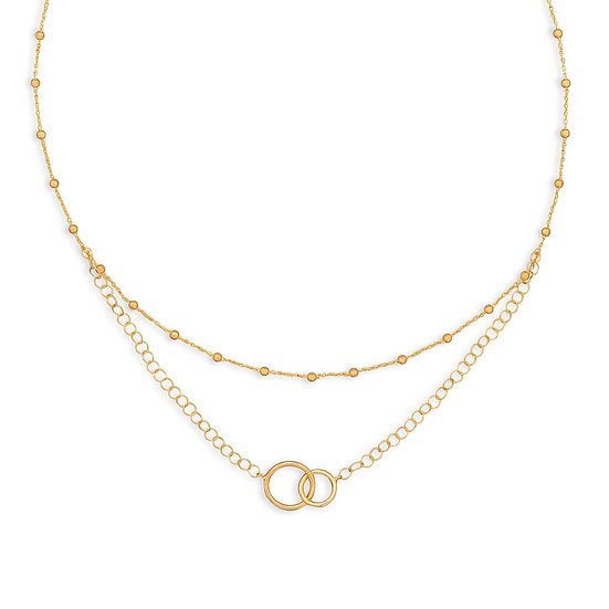 Gold Multi-Strand Beaded Necklace with Circle Link