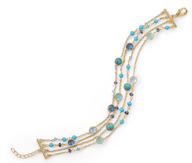 Gold Multi Stone Bracelet