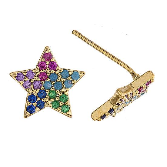 Multicolor CZ Star Earrings