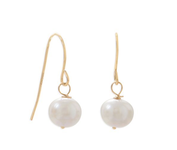 14 Karat Gold Cultured Akoya Pearl French Wire Earrings