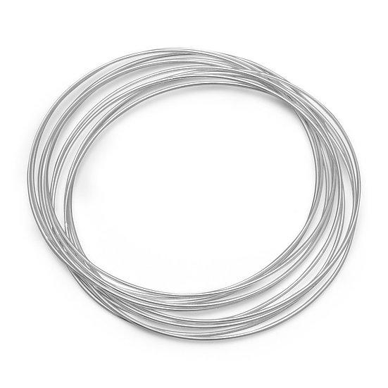 10 Thin Silver Bangle Bracelet Set