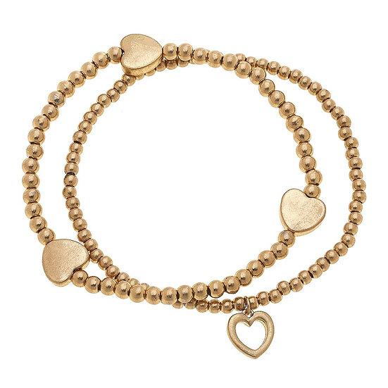 Hady Heart Stretch Bracelet Set