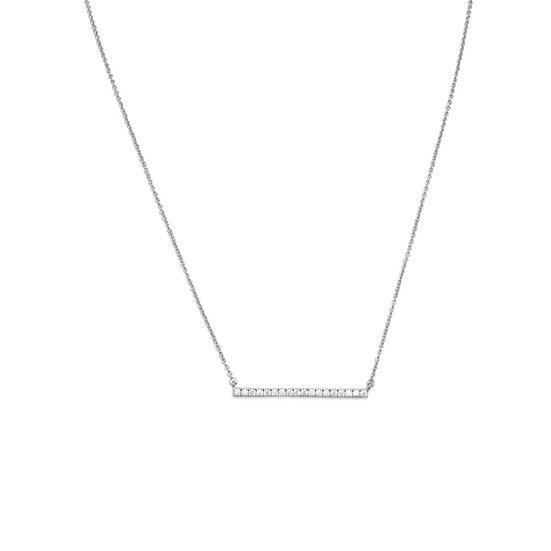 Silver CZ Bar Necklace