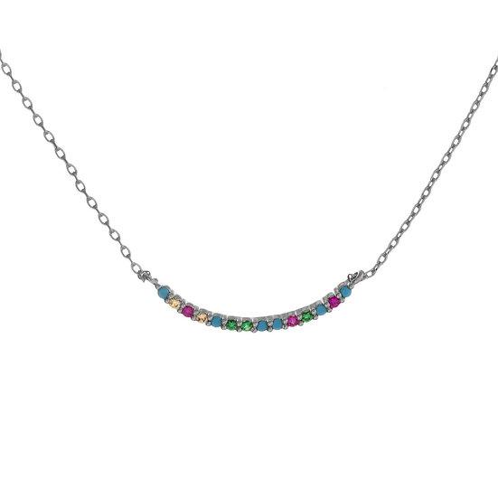 Silver Multicolor Bar Necklace