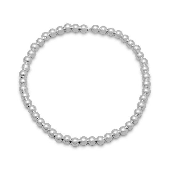 4mm Sterling Silver Bead Stretch Bracelet