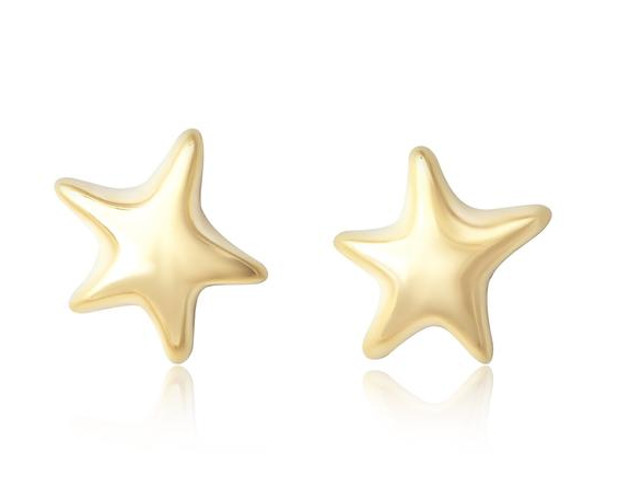 Gold Puffy Star Earrings