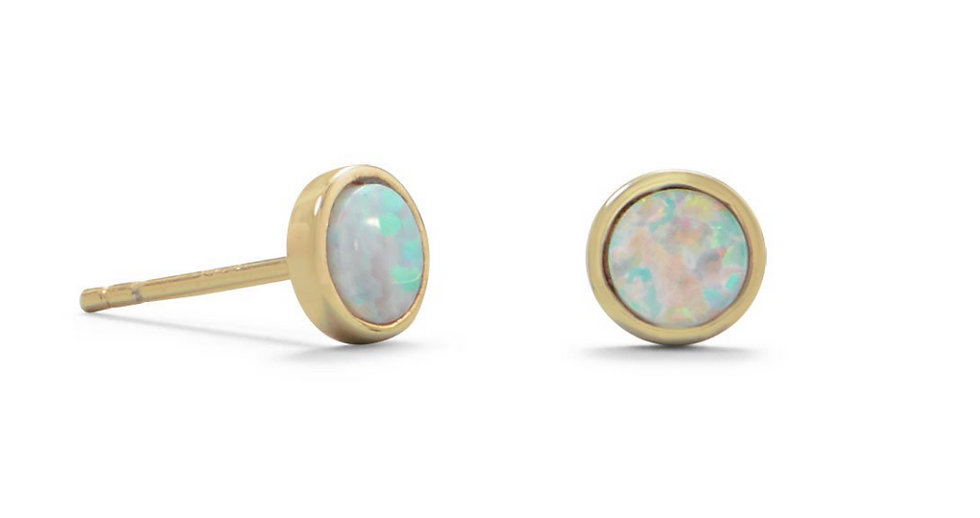 Gold Synthetic White Opal Studs