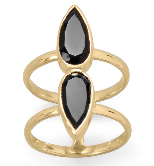 Gold Double Pear Onyx Ring