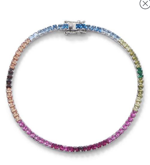 Silver Rainbow CZ Tennis Bracelet
