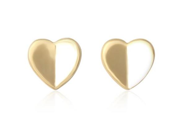 Gold Heart Stud Earrings
