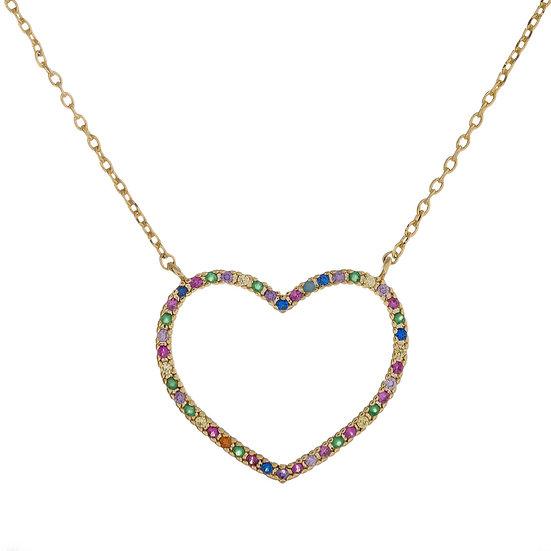 Multicolor CZ Heart Necklace