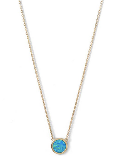 Gold Mini Synthetic Blue Opal Necklace