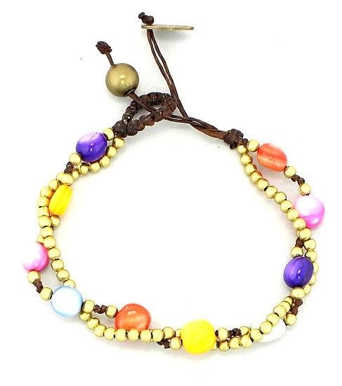Shell Brass Beaded Bracelet