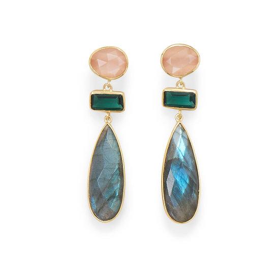Gold Multistone Post Earrings