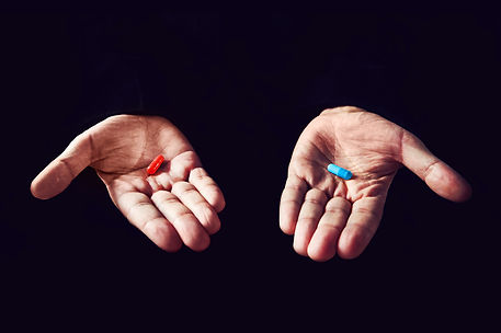 Red Pill Blue Pill concept. The right ch