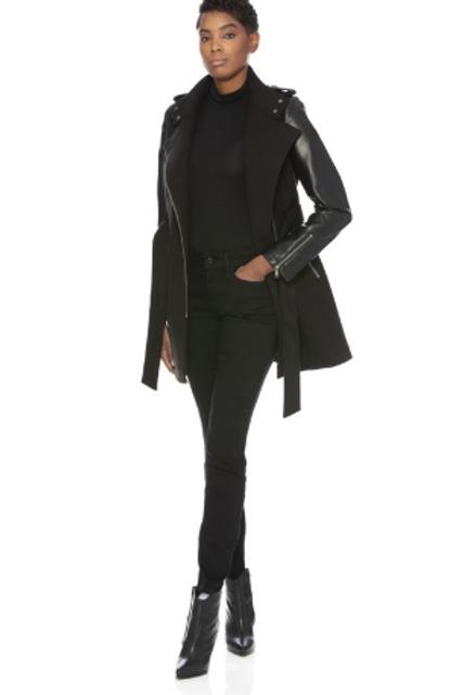 PU Sleeve Wool Coat