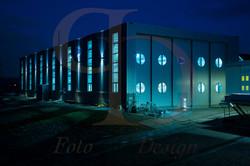 Halle Lux Werft Nachtaufnahme