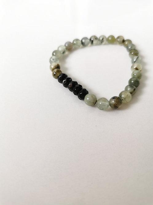 Bracelet préhnite + onyx