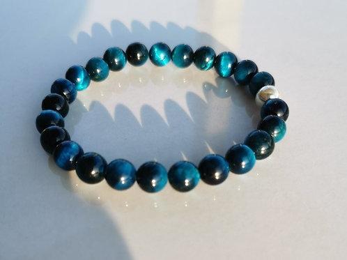 Copie de Bracelet oeil-de-tigre bleu homme