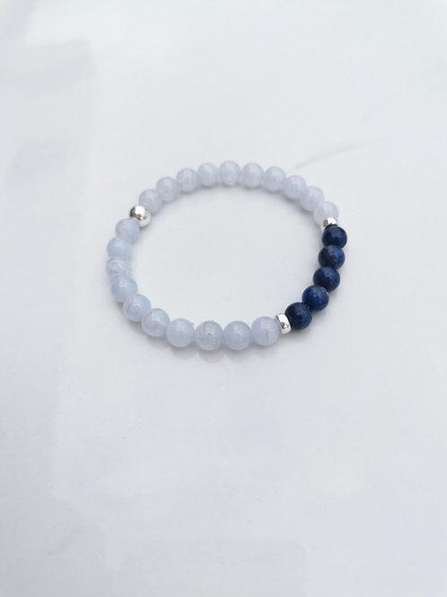 Bracelet agate blue lace avec lapiz-lazuli