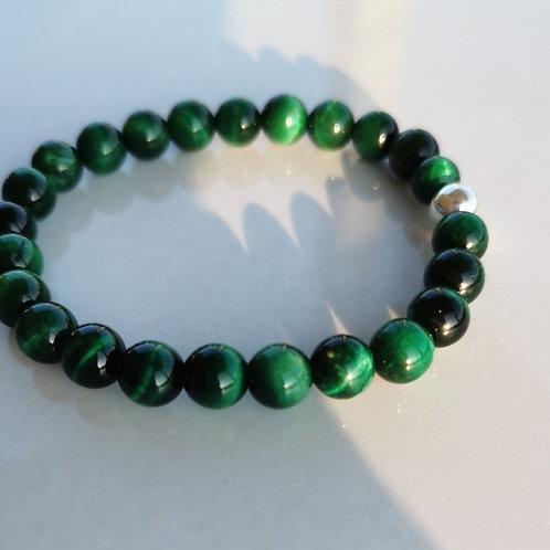 Bracelet oeil-de-tigre vert homme