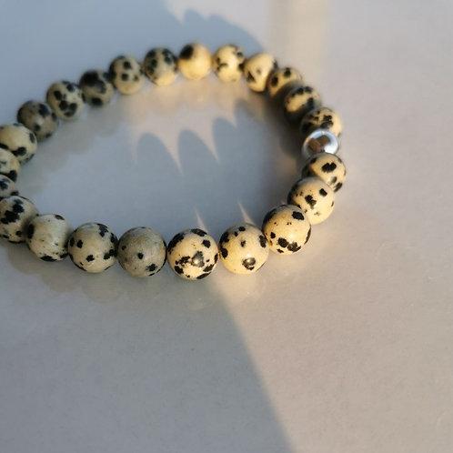 Bracelet jaspe dalmatien homme