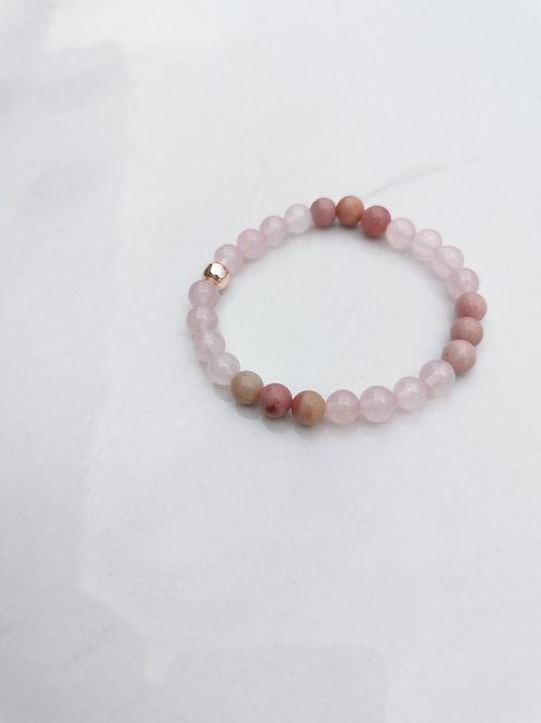 Bracelet quartz rose + rhodocrosite