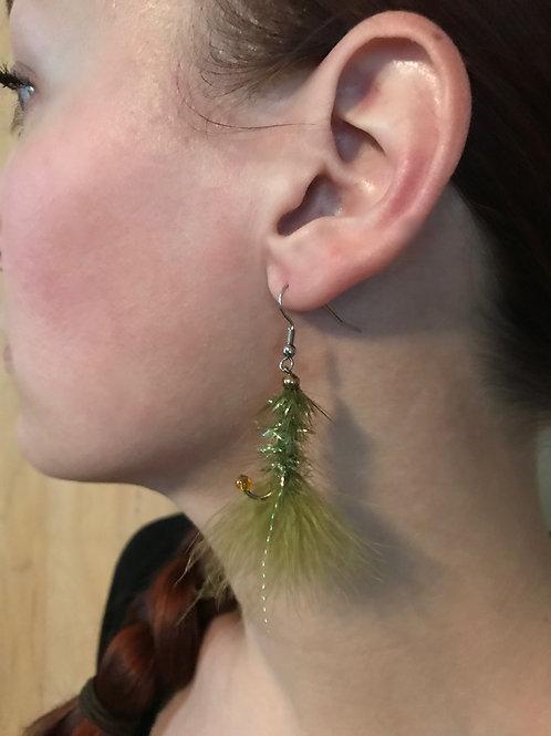 Green Wooly Bugger Fly Earrings