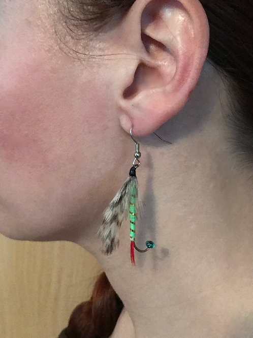 Grizzly King Fly Earrings