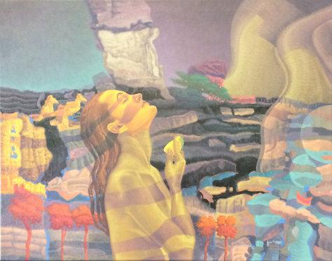 Surrealism Painting - Nestor Betancourt - Infanta con Naranja