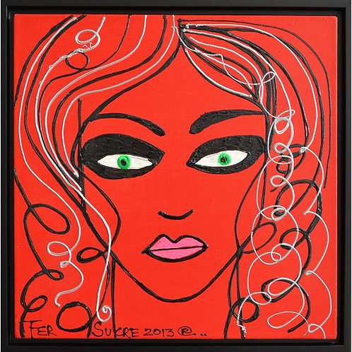 Pop Art Painting - Fer Sucre - Woman in Red