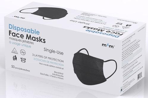 #1 RECOMMENDED - M4M Adult Face Masks (BFE≥90%) Black