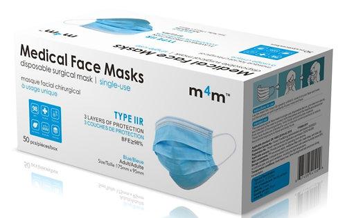 SUPERIOR - M4M Adult Medical/Surgical Face Masks (BFE ≥98%) TYPE IIR - Blue