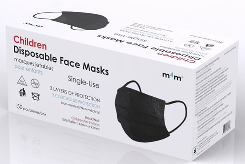 #1 RECOMMENDED - M4M KIDS/YOUTH Face Masks (BFE≥95%) Black