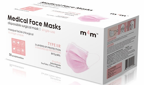 SUPERIOR - M4M Adult Medical/Surgical Face Masks (BFE ≥98%) TYPE IIR -Pink