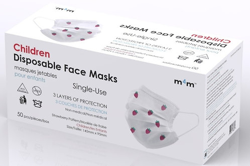 #1 RECOMMENDED - M4M KIDS/YOUTH Face Masks (BFE≥95%) Strawberry Patterned