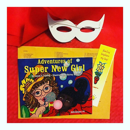 Adventures of of Super New Girl book with mask/cape to decorate, activity page