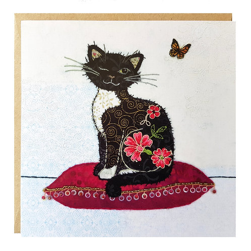 Butterfly Cat Greeting Card