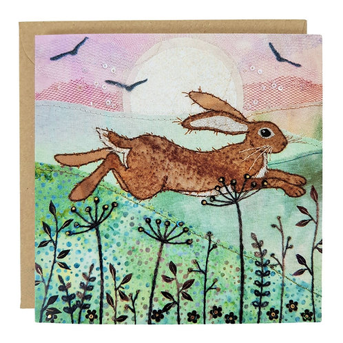 Leaping Hare Greeting Card