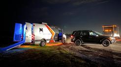 North Film Co.'s trucks at night